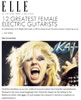"""ELLE MAGAZINE Names THE GREAT KAT """"12 Greatest Female Electric Guitarists"""" """"The Great Kat. Of all the shredders on our list, Juilliard-trained violinist the Great Kat (aka Katherine Thomas) is the most mind-bogglingly fast."""""""
