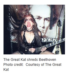 """EXAMINER.COM FEATURES THE GREAT KAT IN """"ROLL OVER BEETHOVEN: THE GREAT KAT'S 'BEETHOVEN SHREDS' RESTYLES FAMED COMPOSER""""! """"The Great Kat, whose 34 videos have collectively received over one million hits on YouTube, has released her eleventh album. Appropriately titled 'Beethoven Shreds,' a speed demon version of five revered classical tracks served up Great Kat style on guitar. Combining her love of all things metal with her knowledge of classical music, the album is a whirlwind look at Beethoven gone metal. Lacing virtuosity with speed."""" - Phyllis Pollack, Rock Music Examiner, Examiner.com"""