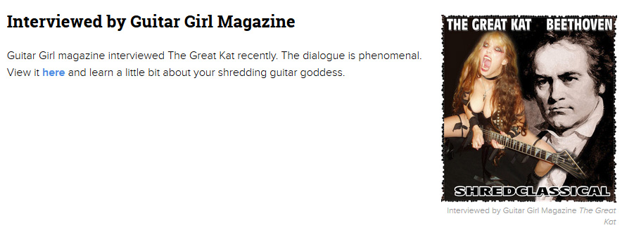 """EXAMINER/AXS ENTERTAINMENT FEATURES THE GREAT KAT in """"5 THINGS THAT THE GREAT KAT RELEASED THIS YEAR""""! """"The Great Kat is a double virtuoso for guitar and violin. However, unlike Paganini, she plays with insane speed. 'Goddess Shreds Live in Chicago.' Be prepared to hear audio or see video of her being worshiped by her fans for her music and for her dominatrix persona."""" - Marjorie LaPrade, Boston Art Examiner"""