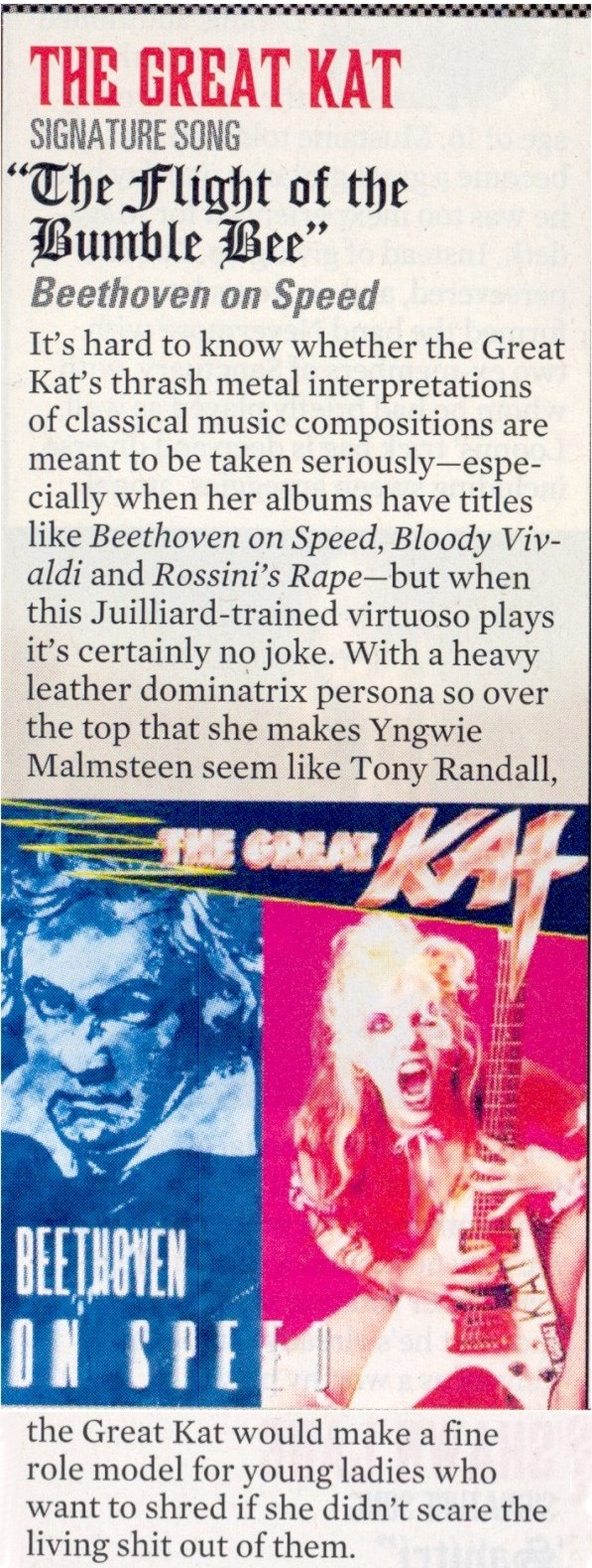 "GUITAR WORLD MAGAZINE NAMES THE GREAT KAT ""50 FASTEST GUITARISTS OF ALL TIME""!!"