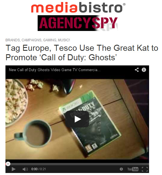 """MEDIABISTRO FEATURES THE GREAT KAT IN """"TAG EUROPE, TESCO USE THE GREAT KAT TO PROMOTE 'CALL OF DUTY: GHOSTS'! """"In a textbook display of how advertising is much different in the U.K., Tag Europe and Tesco — the world's second largest retailer — used the music of The Great Kat in their ad for Call of Duty: Ghosts to add a sense of drama and urgency to the spot. In America, you don't use the music of classically-trained virtuosos to sell video games, you use Eminem. The 20 second spot scores The Great Kat's rendition of Vivaldi's """"The Four Seasons"""" to its footage of players enjoying the game."""" - By Erik Oster, Mediabistro"""