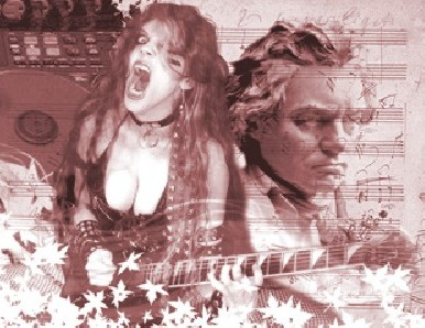 """MILENIO'S FEATURE STORY ON THE GREAT KAT """"DOUBLE-EDGED GUITARIST""""! """"To play faster is impossible. Great Kat is the fastest woman in the world of metal. Guitarist who reinvents Beethoven with great speed. Beethoven's Guitar Shred, a DVD which puts her virtuosity to the service of these musical geniuses, makes your hair stand on end. Her CDs are gems of virtuosity and ahead of time, always premised on speed. The guitarist makes the music flow and electrifies the senses, and she reminds us how great were those who contributed these notes to the history of music, and as with the metal, she knows how to combine them perfectly."""" - Israel Morales, Milenio (Mexico)"""