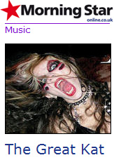 """MORNING STAR'S REVIEW OF """"BEETHOVEN SHREDS"""" CD! """"Beethoven Shreds. The Great Kat is a speed metal guitarist who has now applied her unique talent to Beethoven. The huge shreds displayed on this album will not disappoint fans of the genre. Not only is Kat a great guitarist, she's a classical violinist to boot. Tracks like Beethoven's Fifth Symphony or Bach's Brandenburg Concerto show this off to great effect with riffs that will blow you away. With the amount of talent on show this music can only be appreciated on a concert stage where it can be enjoyed at its fullest."""" - Adrian Roberts, Morning Star (U.K.)"""