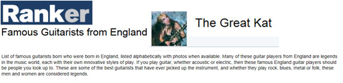 "THE GREAT KAT NAMED ""FAMOUS GUITARISTS FROM ENGLAND"" BY RANKER.COM!"