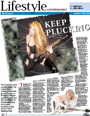 """""""KEEP PLUCKING"""" The Great Kat Interview in """"The Statesman"""" India Newspaper"""