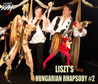 "WORLD PREMIERE ON AMAZON PRIME: THE GREAT KAT'S NEW LISZT'S ""HUNGARIAN RHAPSODY #2"" MUSIC VIDEO! Hot Female Shredder The Great Kat Shreds BOTH Guitar AND Violin with her All-Male Stud Band, ""Vlad the Impaler"" & ""Franz Liszt""! from Upcoming New Great Kat DVD!"
