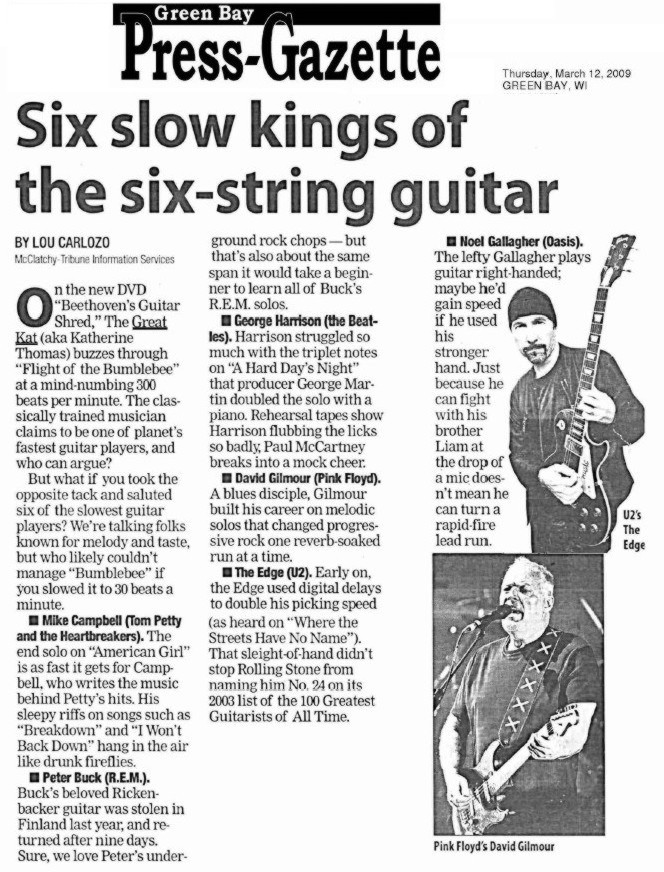 """GREEN BAY GAZETTE FEATURES THE GREAT KAT'S """"BEETHOVEN'S GUITAR SHRED"""" DVD!"""