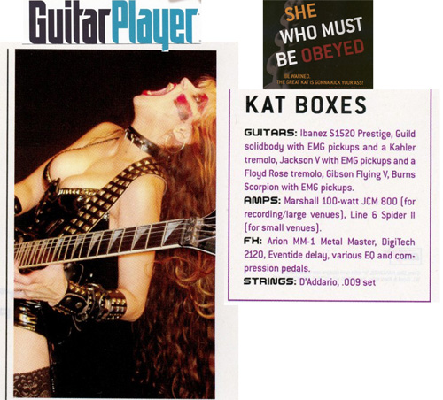 "The Great Kat POSTER in GUITAR PLAYER MAGAZINE! ""KAT BOXES""-The Great Kat Shred Guitar Gear from Guitar Player Magazine's Interview with The Great Kat ""SHE WHO MUST BE OBEYED""!"