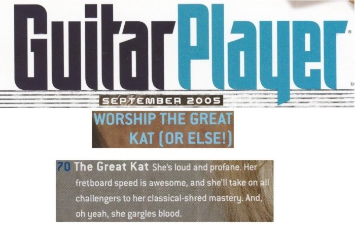 """""""SHE WHO MUST BE OBEYED"""" -The Great Kat Interview in Guitar Player Magazine by Michael Molenda"""