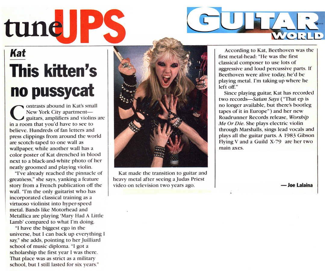 "GUITAR WORLD MAGAZINE'S INTERVIEW WITH THE GREAT KAT! ""KAT. THIS KITTEN'S NO PUSSYCAT""!"