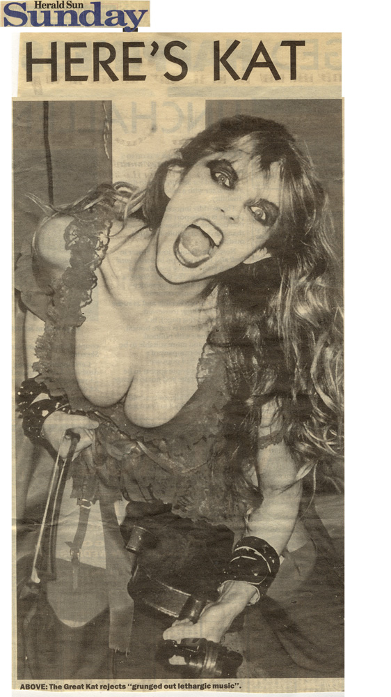 """HERALD SUN SUNDAY FEATURES THE GREAT KAT GUITAR/VIOLIN GODDESS! """"HERE'S KAT. The Great Kat rejects 'grunged out lethargic music'"""""""
