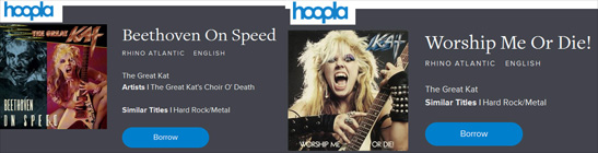 "FREE STREAMING/DOWNLOADING of The Great Kat's ""WORSHIP ME OR DIE!"" & ""BEETHOVEN ON SPEED with your LIBRARY CARD on HOOPLA! https://www.hoopladigital.com/artist/1626876722"
