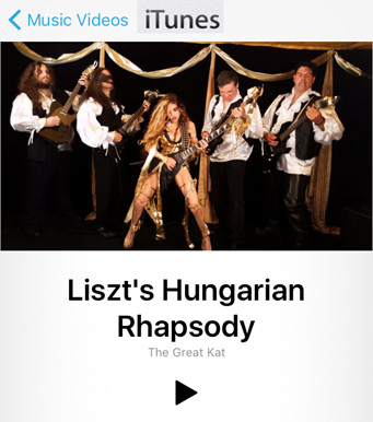 "NEW! WORLD PREMIERE ON iTUNES VIDEOS & AMAZON PRIME: WILDLY ENTERTAINING GREAT KAT'S NEW LISZT'S ""HUNGARIAN RHAPSODY #2"" MUSIC VIDEO! iTUNES VIDEOS: https://itunes.apple.com/us/music-video/liszts-hungarian-rhapsody/id1148738451  FREE on AMAZON PRIME at: https://www.amazon.com/dp/B01L3G60EY  Hot Classical/Metal Female Shredder, The Great Kat Shreds BOTH Guitar AND Violin with her All-Male Stud Band, ""Vlad the Impaler"" & ""Franz Liszt""! from Upcoming New Great Kat DVD!"