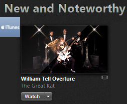 "ITUNES CHOOSES THE GREAT KAT'S ""WILLIAM TELL OVERTURE"" MUSIC VIDEO AS ""NEW AND NOTEWORTHY"" MUSIC VIDEOS! WATCH at https://itunes.apple.com/us/music-video/william-tell-overture/id868774275"