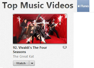 "iTUNES' METAL ""TOP MUSIC VIDEOS"" FEATURES THE GREAT KAT'S MUSIC VIDEO VIVALDI'S ""THE FOUR SEASONS"""