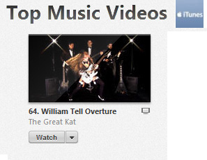 "iTUNES' METAL ""TOP MUSIC VIDEOS"" FEATURES THE GREAT KAT'S MUSIC VIDEO! #63: ""WILLIAM TELL OVERTURE"""