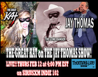 THE GREAT KAT ROCKED the JAY THOMAS SHOW on SIRIUSXM INDIE CHANNEL 102 TODAY (2/12)! OUTRAGEOUS! JAY THOMAS & The Great Kat RULE!!!