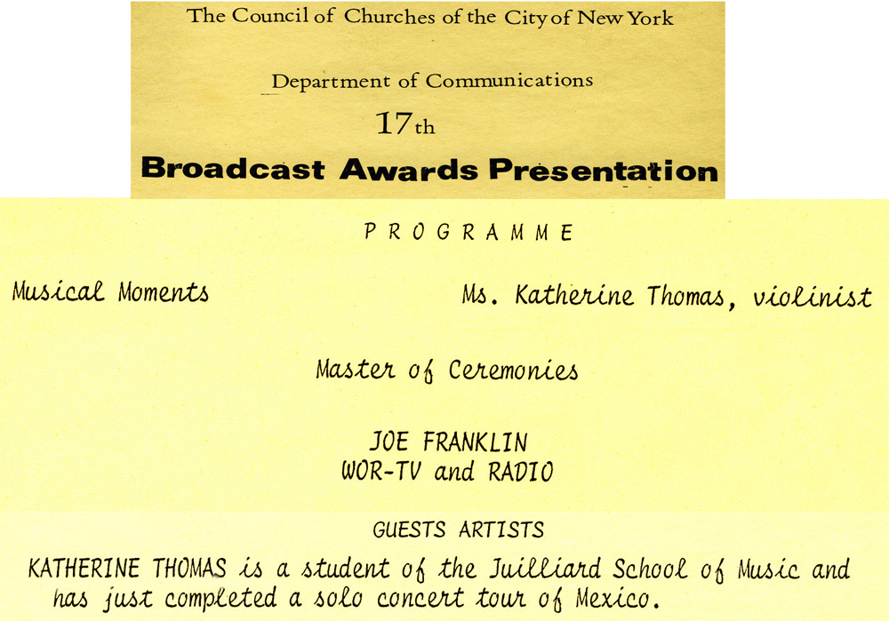 JOE FRANKLIN, MASTER OF CEREMONIES and KATHERINE THOMAS (THE GREAT KAT), VIOLINIST AND GUEST ARTIST PERFORMING on the 17th BROADCAST AWARDS PRESENTATION in NY - AWARDS PROGRAM! Katherine Thomas Violin Virtuoso (The Great Kat) performed numerous times as a Violin Soloist on THE JOE FRANKLIN SHOW.