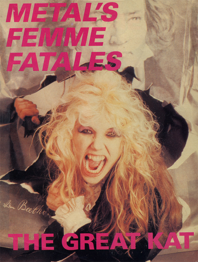 "THE GREAT KAT/BEETHOVEN POSTER IN KERRANG MAGAZINE'S ""METAL'S FEMME FATALES - THE GREAT KAT""!"