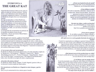 "LA PUA'S INTERVIEW WITH THE GREAT KAT! ""Great Kat carries Classical music in her veins and applies them in all artistic aspects. Technical, demonic voices are saturated with the great Classical composers, especially Beethoven, who The Great Kat says she is the musical reincarnation. 'Beethoven Shreds', The Great Kat performs the '5th Symphony' and 'Brandenburg Concerto' at maximum speed on guitar and violin, with crushing technique and power."" - Francisco Marin Sanchez, La Pua Boletin Informativo"