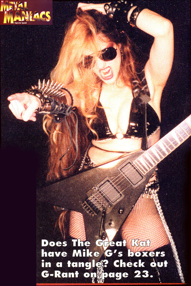 """G-RANT"": THE GREAT KAT INTERVIEW in ""METAL MANIACS"" Magazine!"