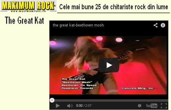 "MAXIMUM ROCK MAGAZINE NAMES THE GREAT KAT ""THE 25 BEST ROCK GUITARISTS IN THE WORLD""! ""The Great Kat"" (""Beethoven Mosh"")"