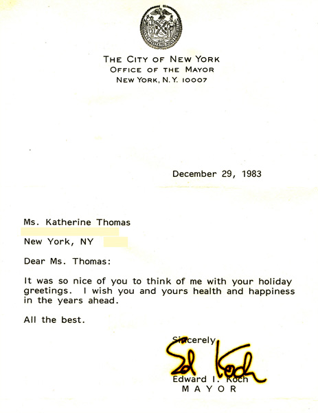 Holiday Letter from Mayor Ed Koch to Katherine Thomas, (The Great Kat)