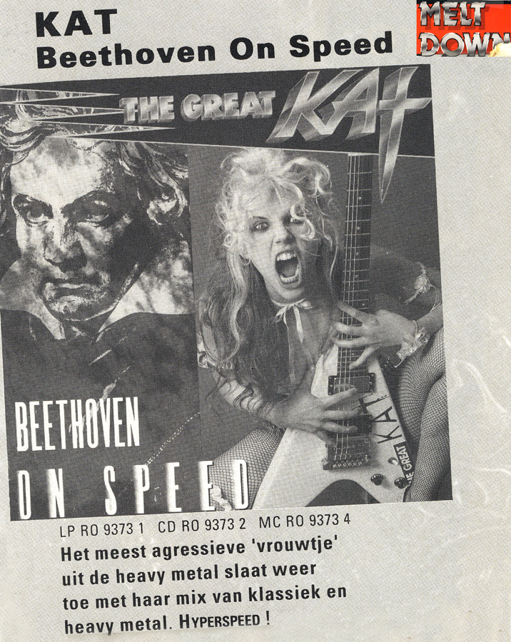 """""""KAT Beethoven On Speed"""" in MELT DOWN MAGAZINE! The most aggressive 'female' from heavy metal strikes again with her mix of classical and heavy metal. HYPERSPEED!"""
