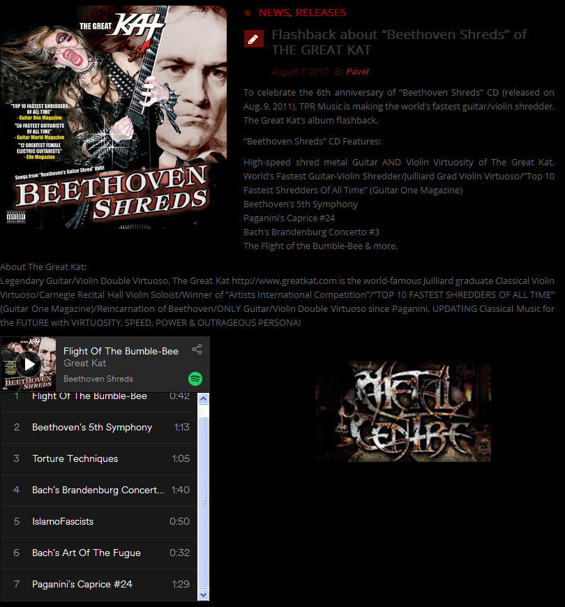 """Metal Centre features """"BEETHOVEN SHREDS"""" CD: """"To celebrate the 6th anniversary of 'Beethoven Shreds' CD The Great Kat's album #flashback"""""""