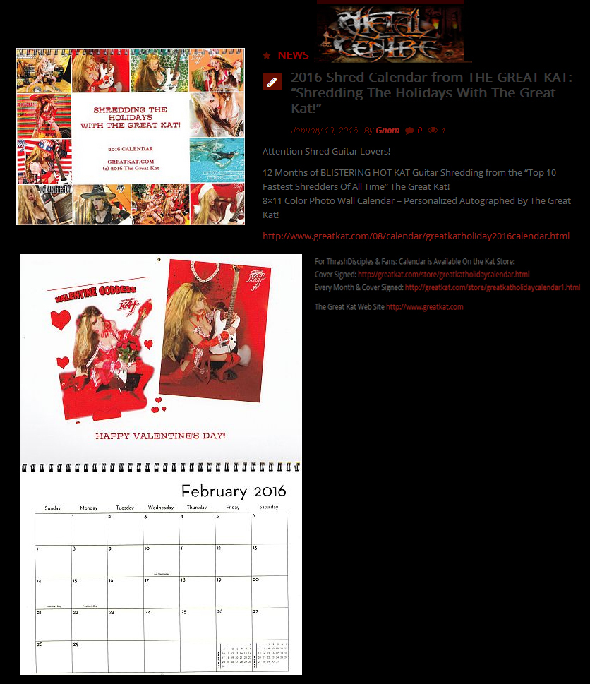 "METAL CENTRE FEATURES THE GREAT KAT! ""2016 Shred Calendar from THE GREAT KAT: 'Shredding The Holidays With The Great Kat!'"""