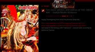 "METAL CENTRE FEATURES THE GREAT KAT!! ""Happy Thanksgiving from shred Pocahontas Great Kat. See more photos and videos of THE GREAT KAT – Guitar/Violin Virtuoso"""