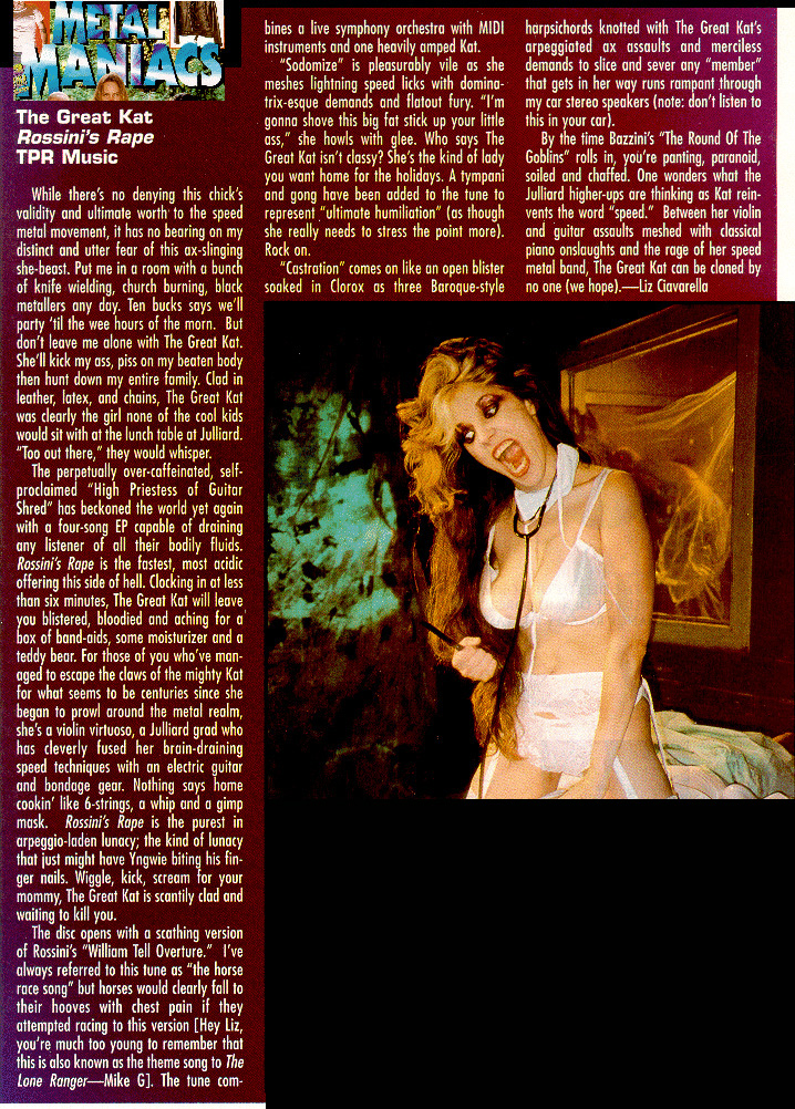 "The Great Kat's ""Rossini's Rape"" CD Review in ""Metal Maniacs"" Magazine!"