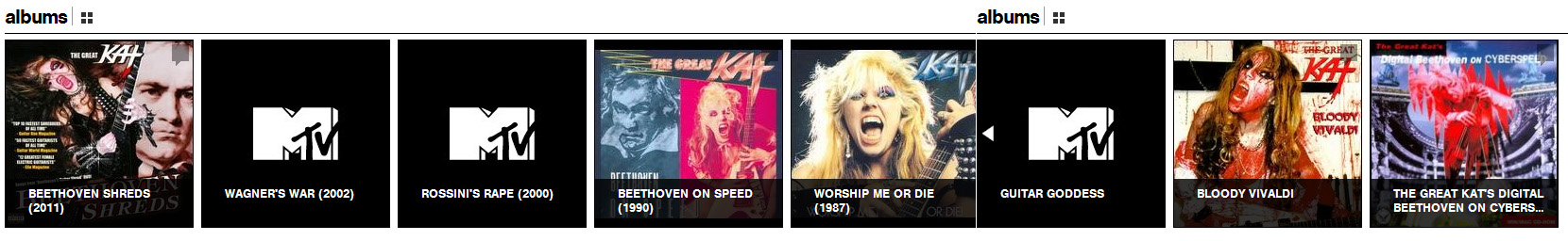 MTV ARTISTS FEATURES THE GREAT KAT'S SHRED/CLASSICAL MASTERPIECE CDS!