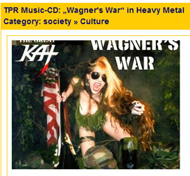 "NACHRICHTEN'S REVIEW OF THE GREAT KAT'S ""WAGNER'S WAR"" CD! ""The electrifying American heavy metal guitarist The Great Kat has done it again! Just in time for Richard Wagner's 200th Jubilee is the glorious album 'Wagner's War'.  War-like musical exploration of the horrible attacks of September 11th.""- Christopher Doemges, Nachrichten (Germany)"
