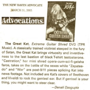 """NEW!! """"Extreme Guitar Shred"""" DVD Review in New Haven Advocate!"""