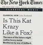 """THE NEW YORK TIMES CLASSICAL MUSIC FEATURE on THE GREAT KAT! """"IS THIS KAT KRAZY LIKE A FOX?"""" by JOHN ROCKWELL!"""