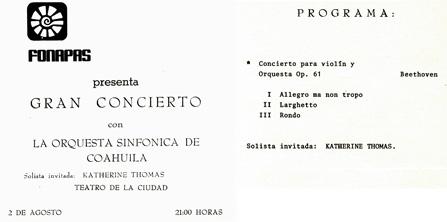 LA ORQUESTA SINFONICA DE COAHUILA CONCERT PROGRAM starring KATHERINE THOMAS, PRODIGY VIOLIN SOLOIST performing BEETHOVEN'S VIOLIN CONCERTO at TEATRO FERNANDO SOLER in SALTILLO, MEXICO!
