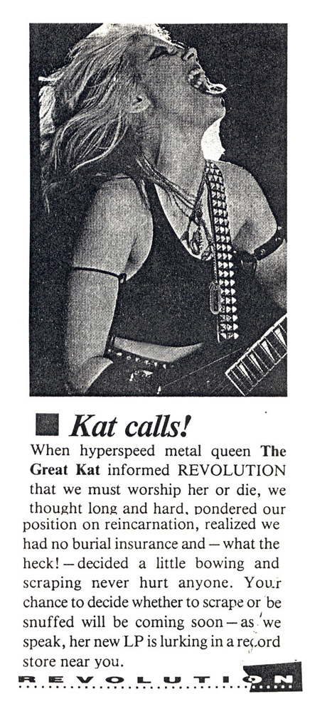 THE GREAT KAT HIGH PRIESTESS OF GUITAR SHRED POSTER IN KERRANG MAGAZINE!