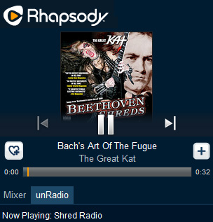 "RHAPSODY SHRED RADIO FEATURES THE GREAT KAT! ""Rhapsody's Shred Radio. The station is centered around the fleet fingers and virtuoso fretwork of wizards like The Great Kat."" - By Chuck Eddy, Rhapsody Shred Radio (June 3, 2014). Listen to Rhapsody Shred Radio: The Great Kat's BACH'S ""THE ART OF THE FUGUE"""