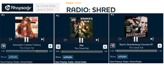 "RHAPSODY SHRED RADIO FEATURES THE GREAT KAT! ""Rhapsody's Shred Radio. The station is centered around the fleet fingers and virtuoso fretwork of wizards like The Great Kat."" - By Chuck Eddy, Rhapsody Shred Radio (June 3, 2014). Listen to Rhapsody Shred Radio: The Great Kat�s Sarasate�s ""Carmen Fantasy"" and ""War"" at http://www.rhapsody.com/blog/post/radio-shred"