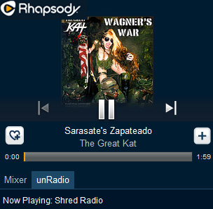 "RHAPSODY SHRED RADIO FEATURES THE GREAT KAT! ""Rhapsody's Shred Radio. The station is centered around the fleet fingers and virtuoso fretwork of wizards like The Great Kat."" - By Chuck Eddy, Rhapsody Shred Radio (June 3, 2014). Listen to Rhapsody Shred Radio: The Great Kat's Sarasate's ""Carmen Fantasy"", ""War"", Bach's ""Brandenburg Concerto #3"", and Wagner's ""The Ride Of The Valkyries"" at http://www.rhapsody.com/blog/post/radio-shred"