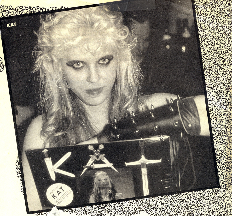 """RIP MAGAZINE'S FAMOUS FEATURE ON THE GREAT KAT SPEED METAL GODDESS! """"To further glorify her illustrious brainstorm, she's recorded an album called Worship Me Or Die. (If you think this name is strange, the original album moniker was Satan Goes To Church.)"""""""