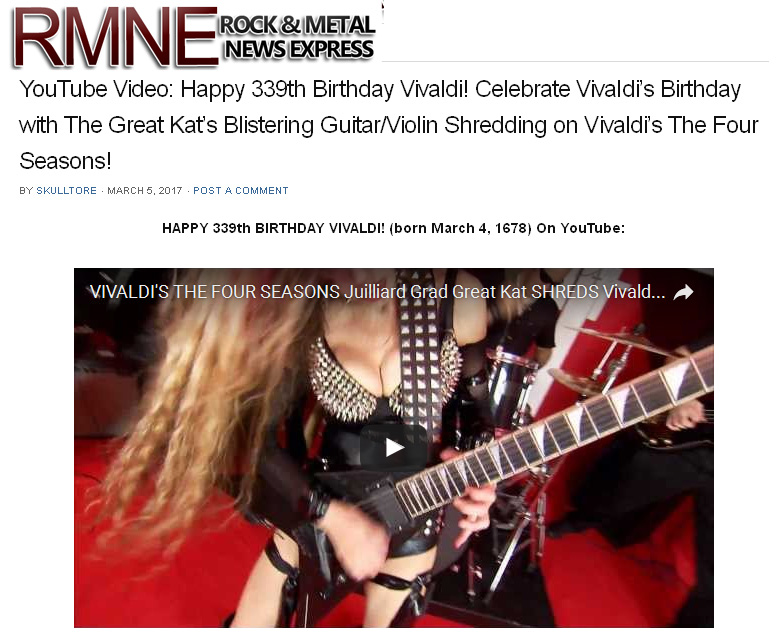 "ROCK & METAL NEWS EXPRESS FEATURES THE GREAT KAT'S VIVALDI'S ""THE FOUR SEASONS"" MUSIC VIDEO!"