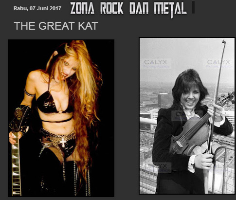 NEW! ROCK DAN METAL ZONE FEATURES THE GREAT KAT! READ at