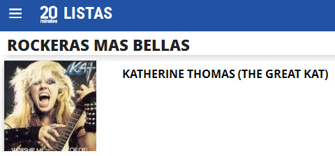 "20minutos.es NAMES THE GREAT KAT ""ROCKERAS MAS BELLAS""!"