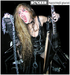 "ROCKER.SK NAMES THE GREAT KAT ""FASTEST GUITARISTS""! ""Fastest Guitarists. The Great Kat. Ranks among the fastest shredders of all time. She studied classical music and does not play typical thrash metal on the guitar . Instead, she transforms familiar songs from classical music and creates original tunes. The Great Kat considers herself the reincarnation of Beethoven. Once she even declared herself God. She also claims to be the only guitar-violin virtuoso since Paganini. The Great Kat uses the Paganini technique that consists of Kat playing with fingers like claws. It is always the dominant driver for classical shredding on guitar with classical technique from the fiddle."" - by Jane Blake, Rocker.sk"
