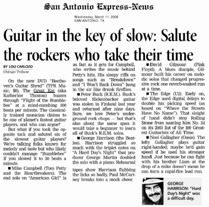 """THE GREAT KAT'S """"BEETHOVEN'S GUITAR SHRED"""" DVD FEATURED IN SAN ANTONIO EXPRESS-NEWS"""
