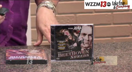 "ABC-TV'S TAKE FIVE & COMPANY SHOW (Grand Rapids, MI) FEATURES THE GREAT KAT'S ""BEETHOVEN SHREDS"" CD! ""The Great Kat. This woman is the world's fastest female guitarist. She is a graduate of the Juilliard School, so you know she has cred. She's a violin virtuoso and the world's fastest guitar shredder. Her new 'Beethoven Shreds' CD showcases Classical music shredded on the guitar and violin, we're talking Beethoven, Bach, Paganini. 'Flight of the Bumble-Bee'. That's cool!"" - Take Five & Company TV Show"