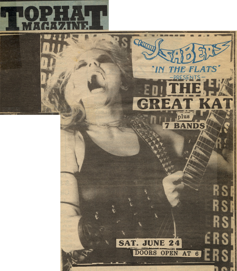 """THE GREAT KAT CONCERT POSTER IN TOPHAT MAGAZINE! """"SABER'S 'IN THE FLATS' PRESENTS THE GREAT KAT!"""""""