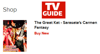 "TV GUIDE FEATURES THE GREAT KAT'S SARASATE'S ""CARMEN FANTASY""! http://www.tvguide.com/celebrities/kat/tv-listings/278395/"